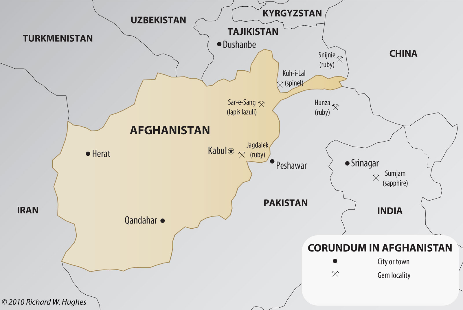 Map of gem localities in Afghanistan and neighboring countries