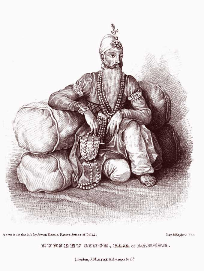 "Ranjit Singh, the ""Lion of the Punjab."" From Burnes (1834–1835)."