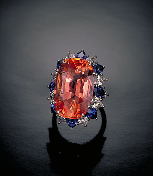 Figure 12. Along with the crystal in Figure 3, this 30-ct. padparadscha from Sri Lanka was cited by Robert Crowningshield as the epitome of the variety. Photo © Tino Hammid.