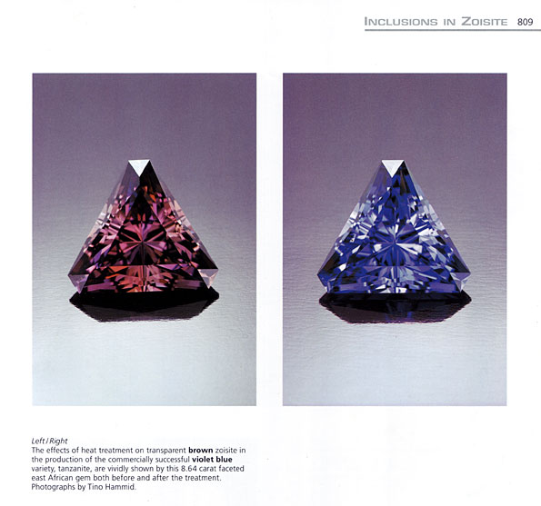 The effects of heat treatment on zoisite (tanzanite). Page 809.