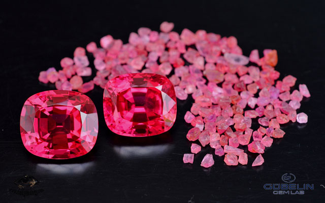 Fine red spinels from Mahenge, Tanzania. These fabulous gemstones (over 20 carats each) were cut from one of the giant crystals found in August 2007 at Ipanko. Stones courtesy of Paul Wild, Idar-Oberstein.
