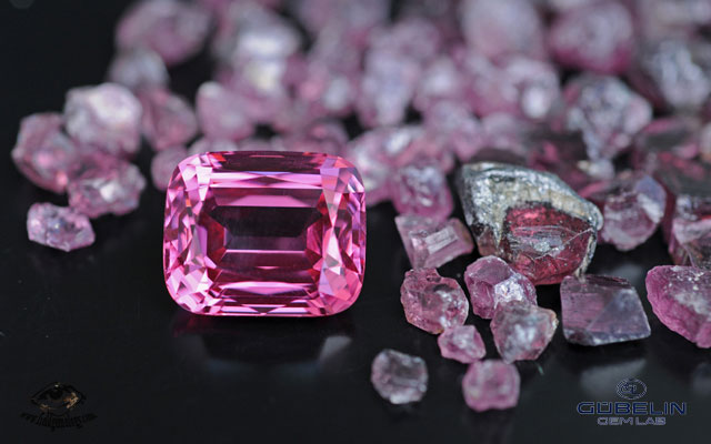 Fine Pamir spinel (over 20 carats) from Tajikistan, with rough spinels from the Kuh-i-Lal mines.