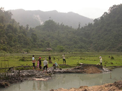 Spinel and ruby mining in rice fields near An Phu village, Luc Yen region, Vietnam. In the background are white marble cliff where spinels are also mined. Luc Yen Vietnam.