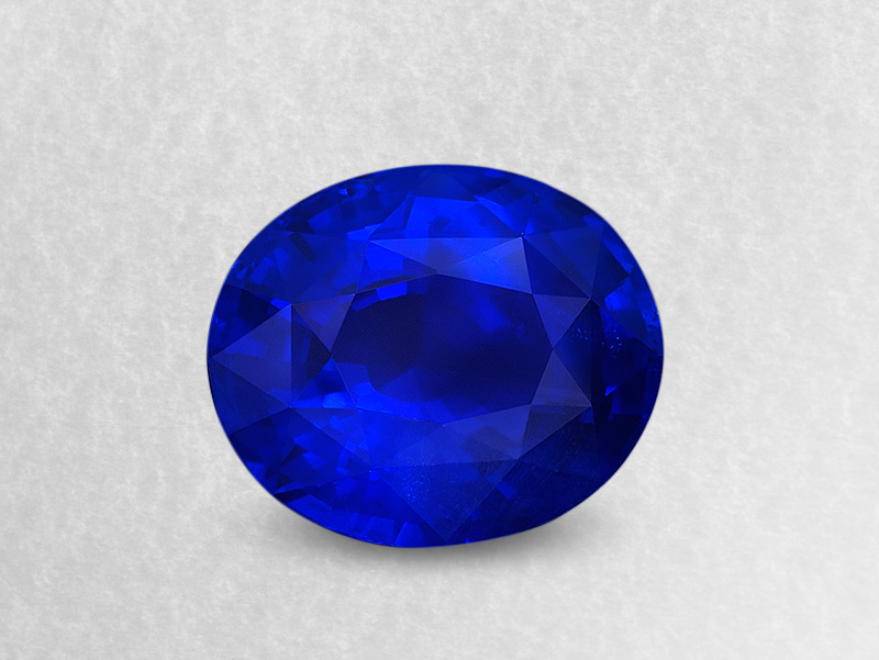 Figure 1. 21.42 carats of Burmese true-blue mystery. This stone is an example of Mogok's finest product.
