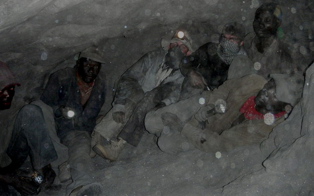 Vincent Pardieu and Philippe Brunot in the tight confines of a tanzanite mine at Merelani's Block D