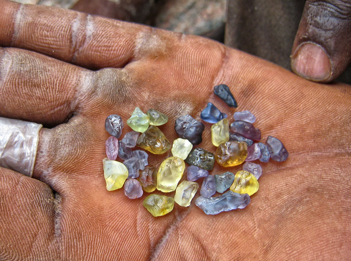 A handful of hope in Tanzania's Tunduru district. Tanzania sapphire, Lotus Gemology.
