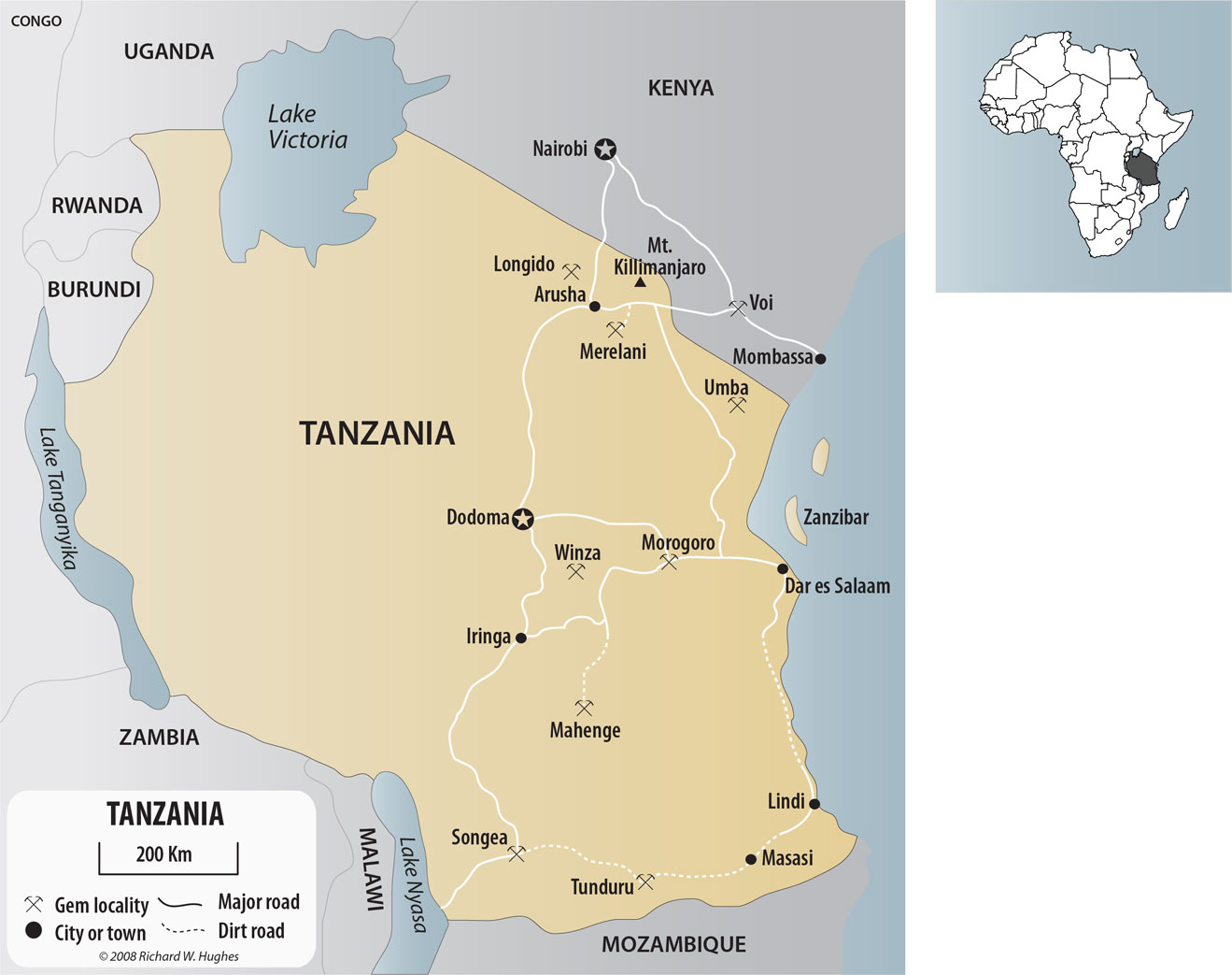 Map of Tanzania and southern Kenya, show the major gem localities. Click on the map for a larger version. Map © R.W. Hughes, Lotus Gemology.