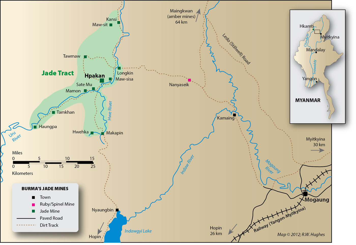 Map of Burma's jade mines