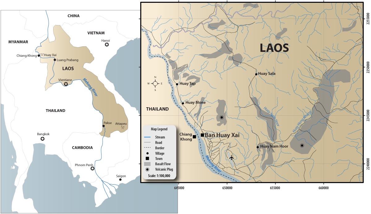 Map of Laos showing the location of the sapphire mines. Click on the map for a larger image. Maps: Richard W. Hughes & Donekeo Intavong