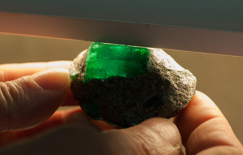 A large Russian emerald crystal still embedded in the mica schist. Photo: Richard W. Hughes
