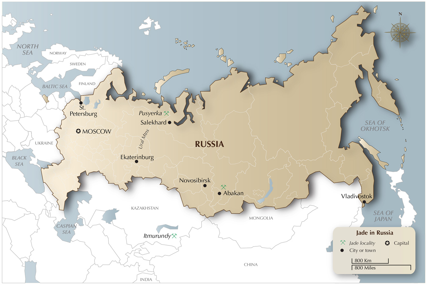 Map showing the important jadeite localities in Russia and Kazakhstan