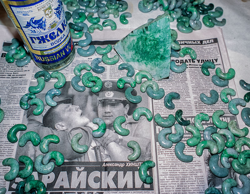 Local produce – Russian vodka and ornamental jadeite from Kazakhstan