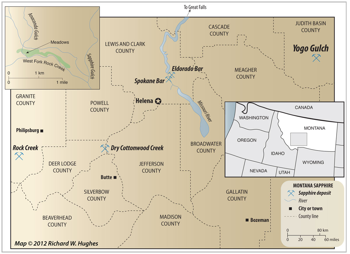 Map of central Montana showing the location of the Yogo mine. Click on the map for a larger image. Map © Richard W. Hughes