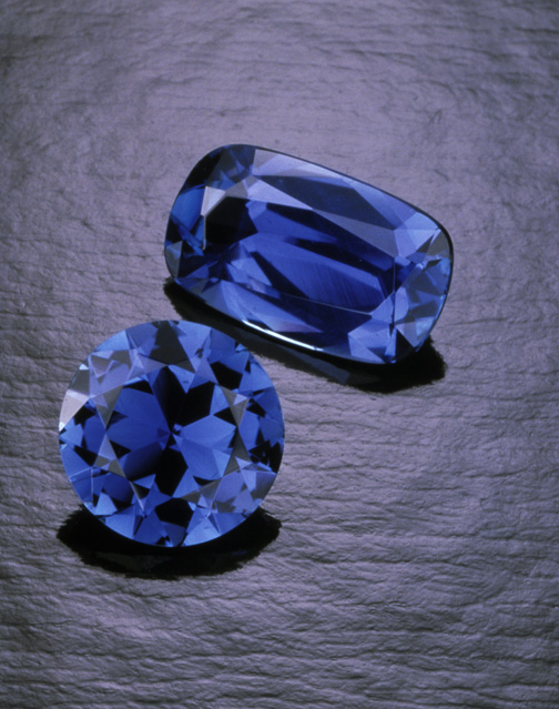 Two fine sapphires from Yogo Gulch, Montana. Photo courtesy Robert E. Kane & Fine Gems International; © Tino Hammid.